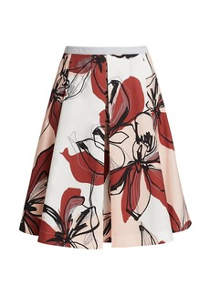 Piazza Sempione Floral Pleated A-Line Skirt