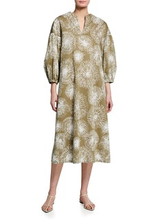 Piazza Sempione Floral-Print 3/4-Sleeve Shift Dress