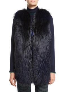 Piazza Sempione Fox-Fur Vest with Plaid Back