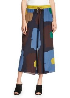 Piazza Sempione Geometric Floral-Print Wide-Leg Cropped Drawstring Pants