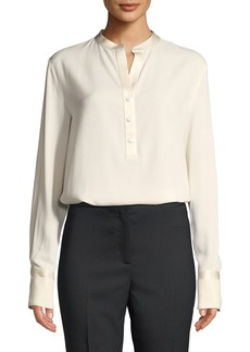 Piazza Sempione Henley Button-Placket Long-Sleeve Charmeuse Blouse