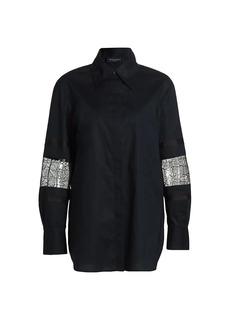 Piazza Sempione Lace & Organdy-Inset Stretch Poplin Shirt