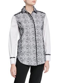 Piazza Sempione Lace Front Cotton Button-Front Shirt