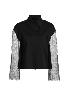 Piazza Sempione Lace-Sleeve Poplin Shirt