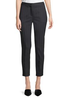 Piazza Sempione Laura Straight-Leg Cropped Pinstripe Pants