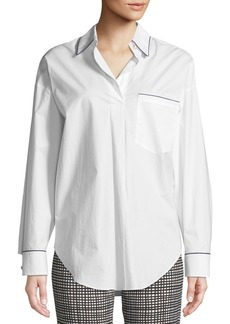 Piazza Sempione Long-Sleeve Button-Down Cotton Tunic Shirt w/ Contrast Piping