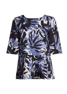 Piazza Sempione Macro Camouflage Pleated Blouse
