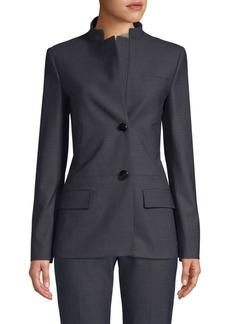 Piazza Sempione Micro-Pattern Mandarin Collar Jacket
