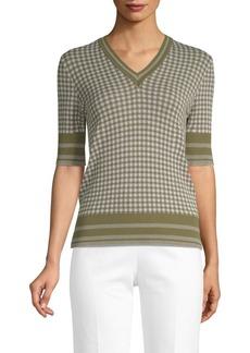 Piazza Sempione Mini Gingham V-Neck Sweater