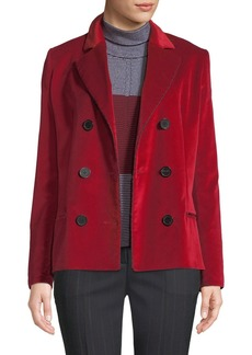 Piazza Sempione Notched-Collar Double-Breasted Velvet Jacket w/ Striped Cording