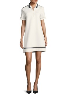 Piazza Sempione Collared Short-Sleeve Neoprene Dress with Piping