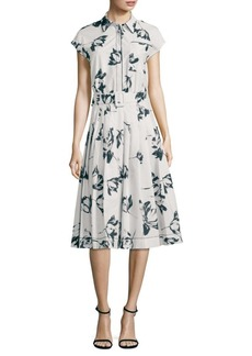 Piazza Sempione Floral Print Pleated Shirt Dress