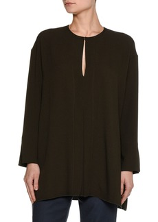 Piazza Sempione Long-Sleeve Keyhole Cady Tunic Blouse