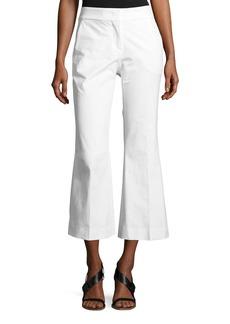 Piazza Sempione Mid-Rise Flared-Leg Cotton Gabardine Pants
