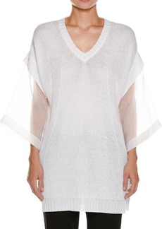 Piazza Sempione Organza-Sleeve Linen-Blend Knit Tunic