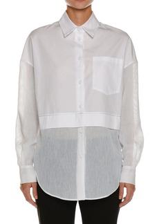 Piazza Sempione Silk Seersucker-Trim Tunic Shirt