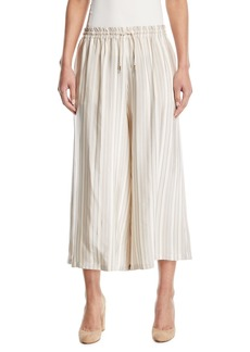 Piazza Sempione Striped Drawstring Wide-Leg Crop Pants