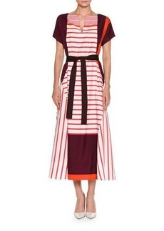 Piazza Sempione Striped Short-Sleeve Midi Dress
