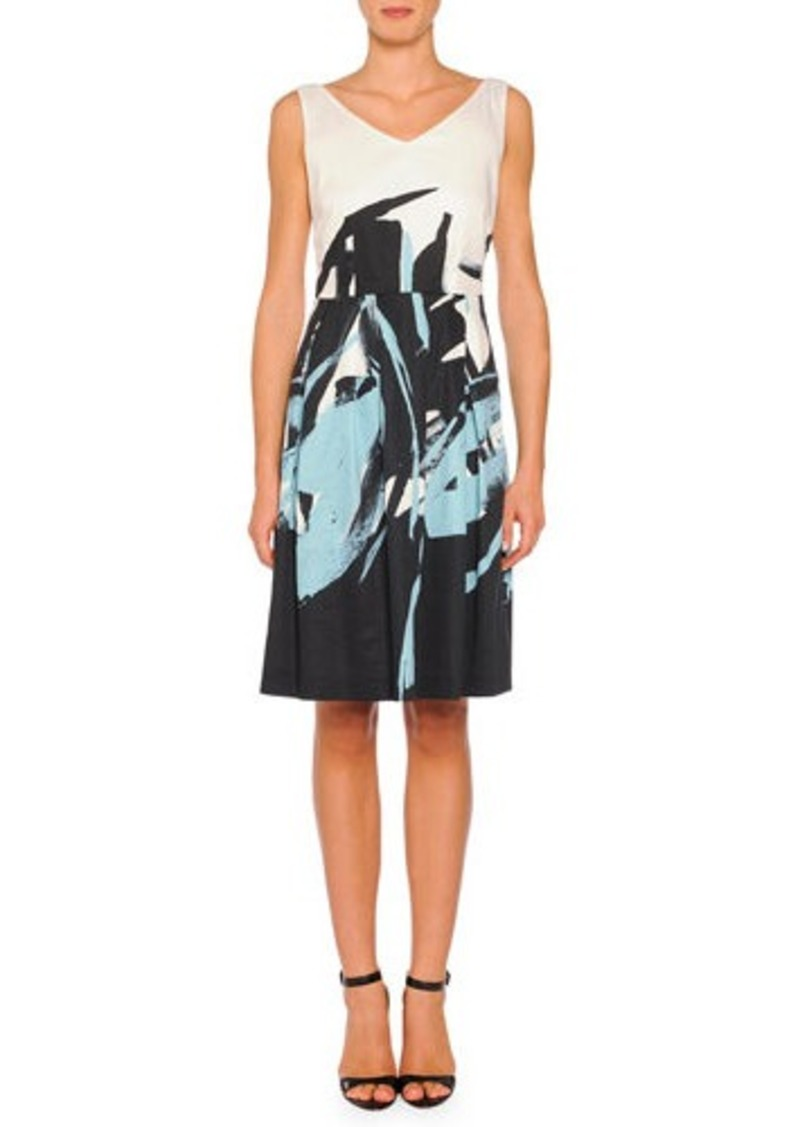 Piazza Sempione V-Neck Brushstroke-Print A-line Dress