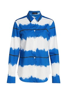 Piazza Sempione Pictoral Striped Button Down Shirt
