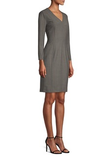 Piazza Sempione Pinstripe V-Neck Sheath Dress