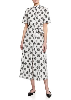 Piazza Sempione Polk-Dot Print Short-Sleeve Fit-and-Flare Dress