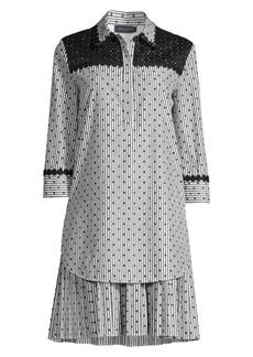 Piazza Sempione Polka-Dot & Stripes Shirtdress