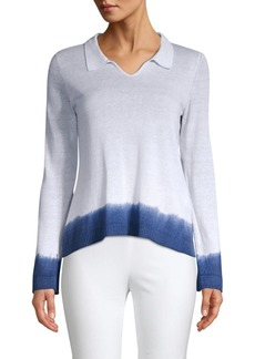 Piazza Sempione Polo Collar Dip-Dye Knit Top