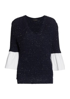 Piazza Sempione Poplin-Cuff Knit Sweater