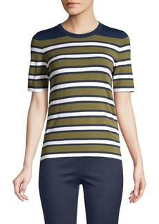 Piazza Sempione Roundneck Short Sleeve Striped Knit T-Shirt