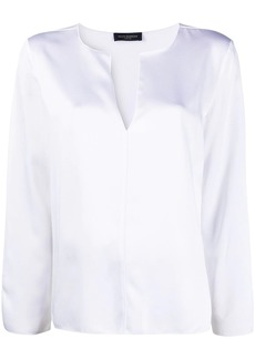 Piazza Sempione satin long-sleeved blouse
