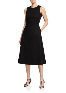 Piazza Sempione Seersucker Crewneck Cotton A-Line Dress
