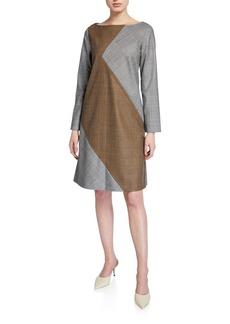 Piazza Sempione Serge Bi-Color Herringbone Shift Dress