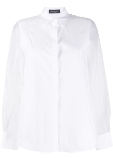 Piazza Sempione sheer sleeve pointed collar shirt