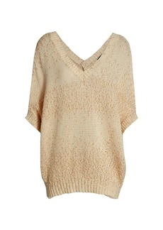 Piazza Sempione Short-Sleeve V-Neck Knit Sweater