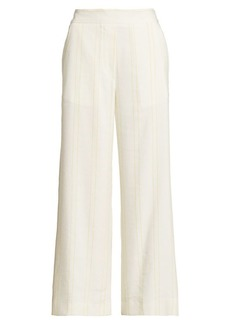 Piazza Sempione Silk & Linen Blend Cropped Pants