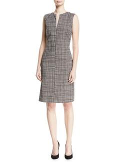 Piazza Sempione Slit-Neck Sleeveless Mini-Check Sheath Dress