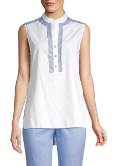 Piazza Sempione Stripe Detail Sleeveless Poplin Blouse