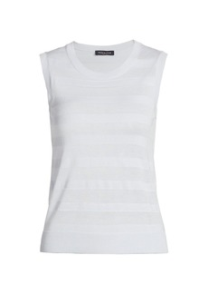 Piazza Sempione Stripe Wool & Silk Sleeveless Top