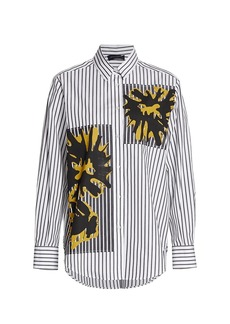 Piazza Sempione Striped Abstract Print Poplin Shirt