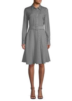 Piazza Sempione Striped Belted Fit-&-Flare Dress