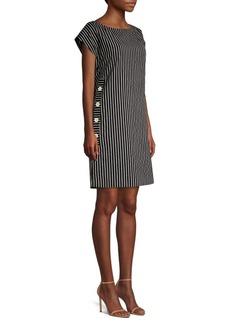 Piazza Sempione Striped Cap-Sleeve Shift Dress