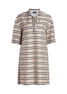 Piazza Sempione Striped Organza Silk-Blend Shirtdress