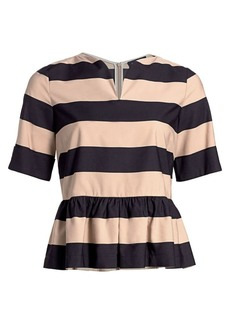 Piazza Sempione Striped Peplum Top