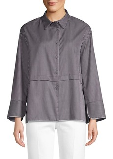 Piazza Sempione Striped Poplin Shirt Jacket