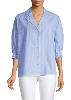 Piazza Sempione Striped Poplin Short-Sleeve Blouse