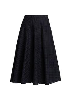 Piazza Sempione Tonal Checked Silk & Cotton Skirt