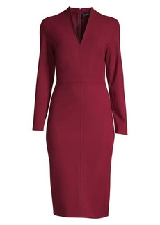 Piazza Sempione V-Neck Stretch Wool Sheath Dress