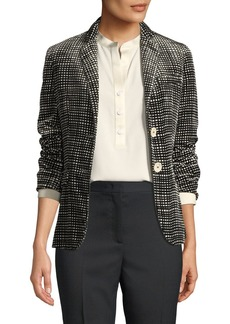 Piazza Sempione Velvet Graphic-Plaid Single-Breasted Jacket
