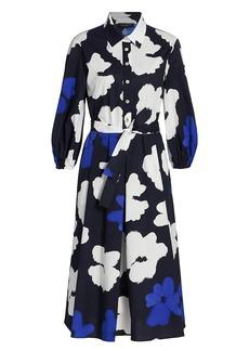Piazza Sempione Watercolor Flowers Stretch Cotton Popline Fit-&-Flare Dress